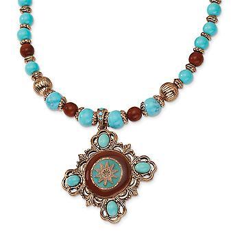 Ausgefallene Hummer Verschluss Kupfer Ton Aqua und braun Perlen emailliert 16inch mit Ext Halskette Schmuck Geschenke für Frauen