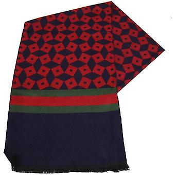 Swole Panda Dice and Stripe Bamboo Scarf - Navy/Red/Green