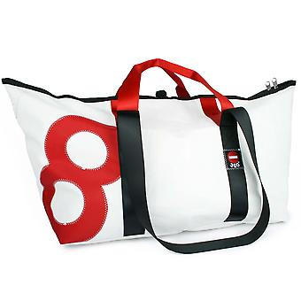 360 degrees canvas bag tug XL white red with number