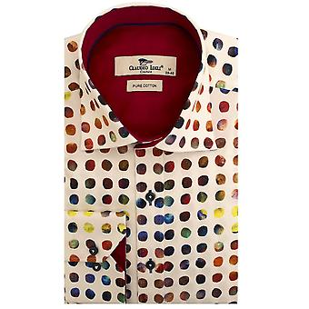 Claudio Lugli  Colourful Marbles Print Long Sleeve Mens Shirt