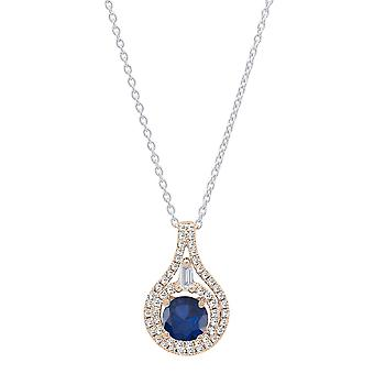 Dazzlingrock Collection 14K 5.5 MM Round Blue Sapphire And Round & Baguette Diamond Ladies Pendant, Rose Gold