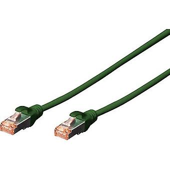 Digitus RJ45 DK-1644-030/G Network cable, patch cable CAT 6 S/FTP 3.00 m Green Halogen-free, twisted pairs, incl. detent, Flame-retardant