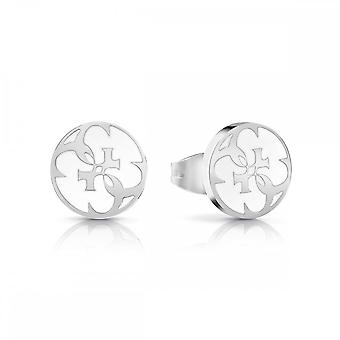 Guess Jewellery Guess White Enamel 4G Coin Studs UBE78127