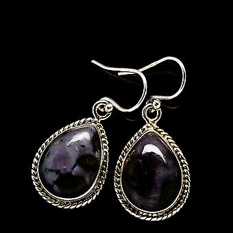 "Gabbro Stone Earrings 1 3/8"" (925 Sterling Silver)  - Handmade Boho Vintage Jewelry EARR392450"