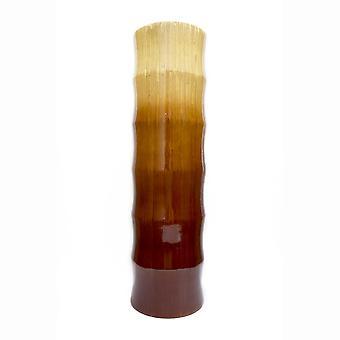 """7"""" X 7"""" X 24"""" Florero de la chuta de bambú de bambú turquesa y bambú de bronce"""