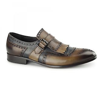 Azor Azzuri Mens Leather Brogues Brown/blue
