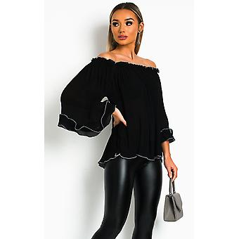 IKRUSH Womens Pam Frill Off Shoulder Top