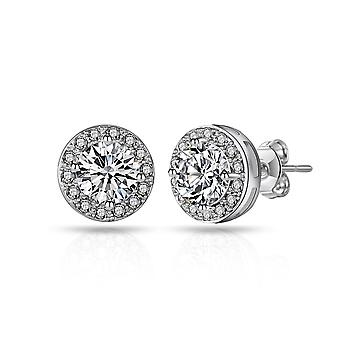 Silver halo earrings created with swarovski® crystals
