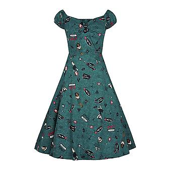 Collectif Vintage Women's Teal Dolores Vegas Vamp Doll Swing Dress
