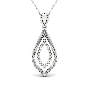IGI Certified S925 Sterling Silver 0.10ct TDW Diamond Drop Shape Necklace