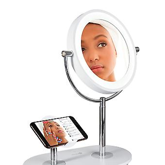 OttLite Make Up Mirror With Lights LED Natural Daylight Light Ring For Makeup Beauty & Cosmetics With Illuminated Light 1x/5x Magnifier & Wireless Phone Charging Stand + USB Port