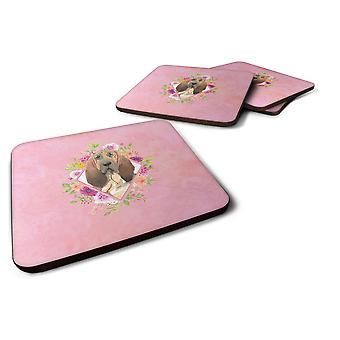 Set of 4 Bloodhound Pink Flowers Foam Coasters Set of 4