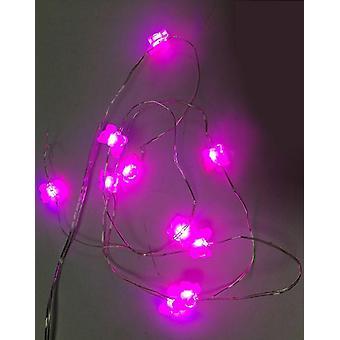 Schmetterling Lichterkette  rosa, aus Kunststoff, batteriebetrieben.