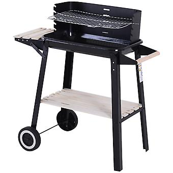 Outsunny Trolley Charcoal BBQ Barbecue Grill Outdoor Patio Garden Heating Smoker with Side Trays Storage Shelf and Wheels