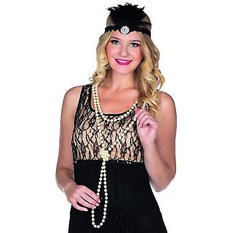 Łańcuch Charleston krem ozdobny perełki 20s lat kostium karnawał nowy rok Eve akcesorium
