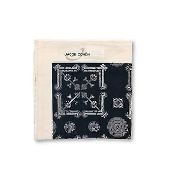 Jacob Cohen Pocket Square in navy and off-white abstract design