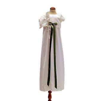 Doop jurk met Dophätta en brede licht groene strik. Sess.