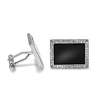 Jewelco London 9ct White Gold Pave Set Round H I1 0.46ct Diamond and Black Onyx Rectangular Frame Swivel Bar Cufflinks