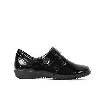 Josef Seibel Naly 21 schwarz Patent Leder Damen Rip Tape Schuhe