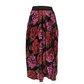 Joan Rivers Classics Collection Skirt Midnight Garden Midi Black A343496
