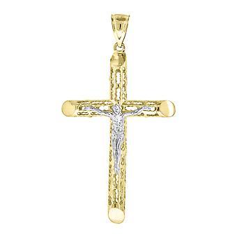 10kゴールドツートーンDcメンズクロス十字架高さ72mm X幅39.3mm宗教的な魅力ペンダントネックレスジュエリーギフト用M