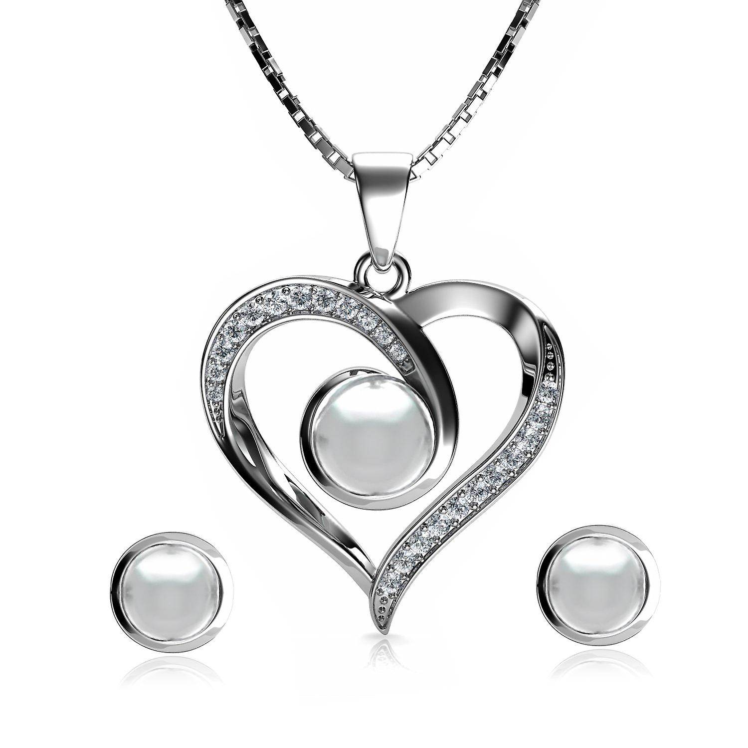 Pearl jewellery set heart necklace & heart earrings  silver pendat