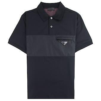 Prada Metal Logo Stretch Cotton Polo Shirt Black