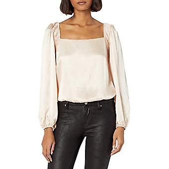 ASTR the label Women's Alia Square Neck Pleated Shoulder, Champagne, Size Small
