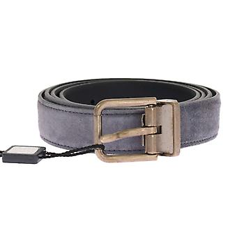 Dolce & Gabbana Gray Suede Leather Gold Buckle 2,5 Cm Riem