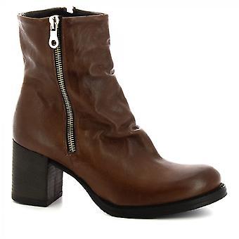 Leonardo Schuhe Frauen 's handgemachte Fersen Midcalf Stiefel dunkelbraun Leder Seite Reißverschluss