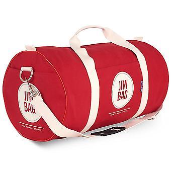 JIMBAG Red & Cream Holdall sport fitness gym overnachting weekend reistas met handvat & schouderriem