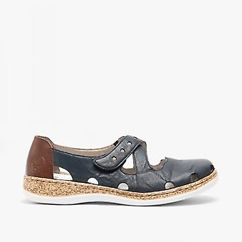 Rieker 46356-14 Ladies Pelle Casual Scarpe Pacific/marron