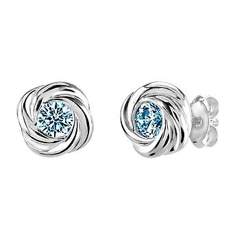 Dew Sterling Silver Silver Swirl Blue Topaz Stud Earrings 3312BT