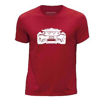 STUFF4 Chłopca rundy szyi samochód Shirt/Stencil Art / P1 tylne/czerwony