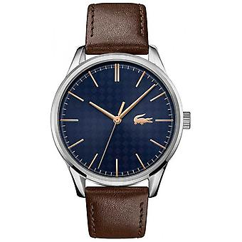 Lacoste Men's Viena Correa de cuero marrón ? Reloj Blue Dial 2011046
