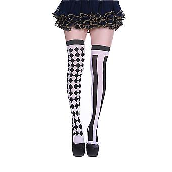 Womens Jester Harlequin Print Thigh High Costume Stockings