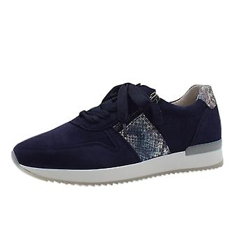 Gabor Lulea Lace Up Leather Sneakers In Navy Suede