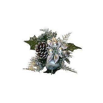 Silver Pine, Pine Cone, Apple & Christmas Flower Pick for Crafts