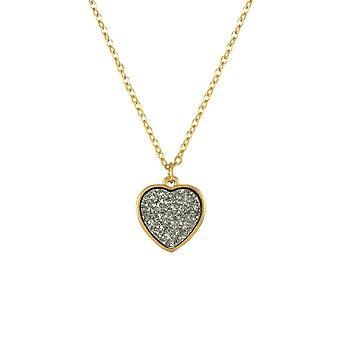 Eternal Collection True Love Grey Druzy Effect Gold Tone Heart Pendant