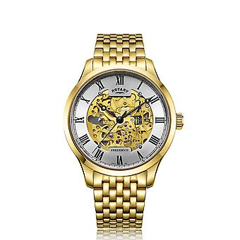 Roterende GB02941-03 Greenwich Gold tone automatisk armbåndsur