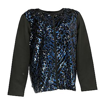 Bob Mackie Women's Sequin Front Knit Zip Front Jacket Black A296418 PTC