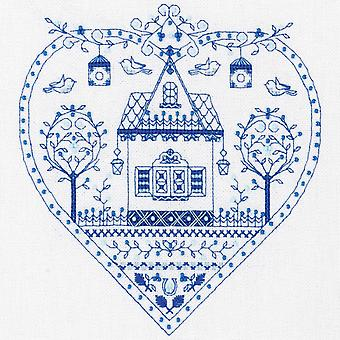 Panna Cross Stitch Kit - Blue Heart