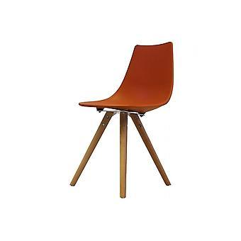 Fusion Living Iconic Orange Kunststoff Essstuhl mit hellen Holz Beine