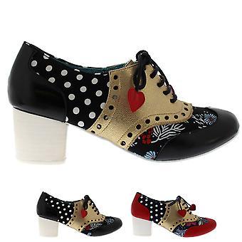 Womens Irregular Choice Clara Bow Pretty Love Heart Oxfords Heels