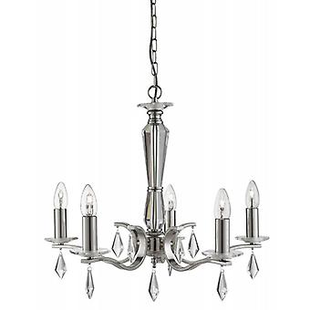 5-light Pendant Lamp Royale, In Satin Silver And Crystal
