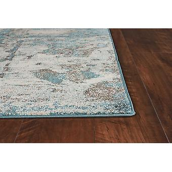 3'x5' Ivory Teal Machine Woven Abstract Indoor Area Rug