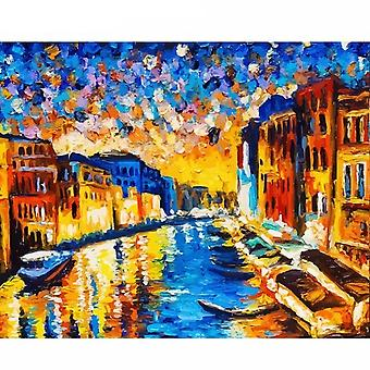 Romantic Paris Diy Framed Painting By Numbers Landscape Acrylic Paint By Numbers