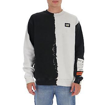 Heron Preston Hmba014f20jer0091201 Men's White/black Cotton Sweatshirt