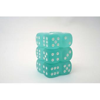 Chessex 16mm D6 Block of 12 - Frosted Teal/white