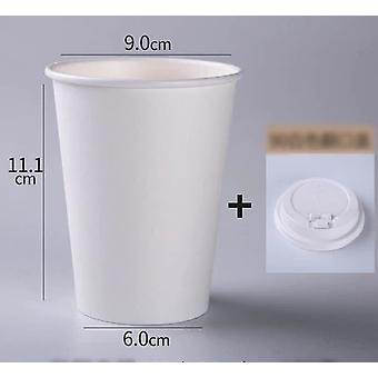 100pcs Disposable White Paper Cups With Lid - Coffee Milk Tea Paper Cups